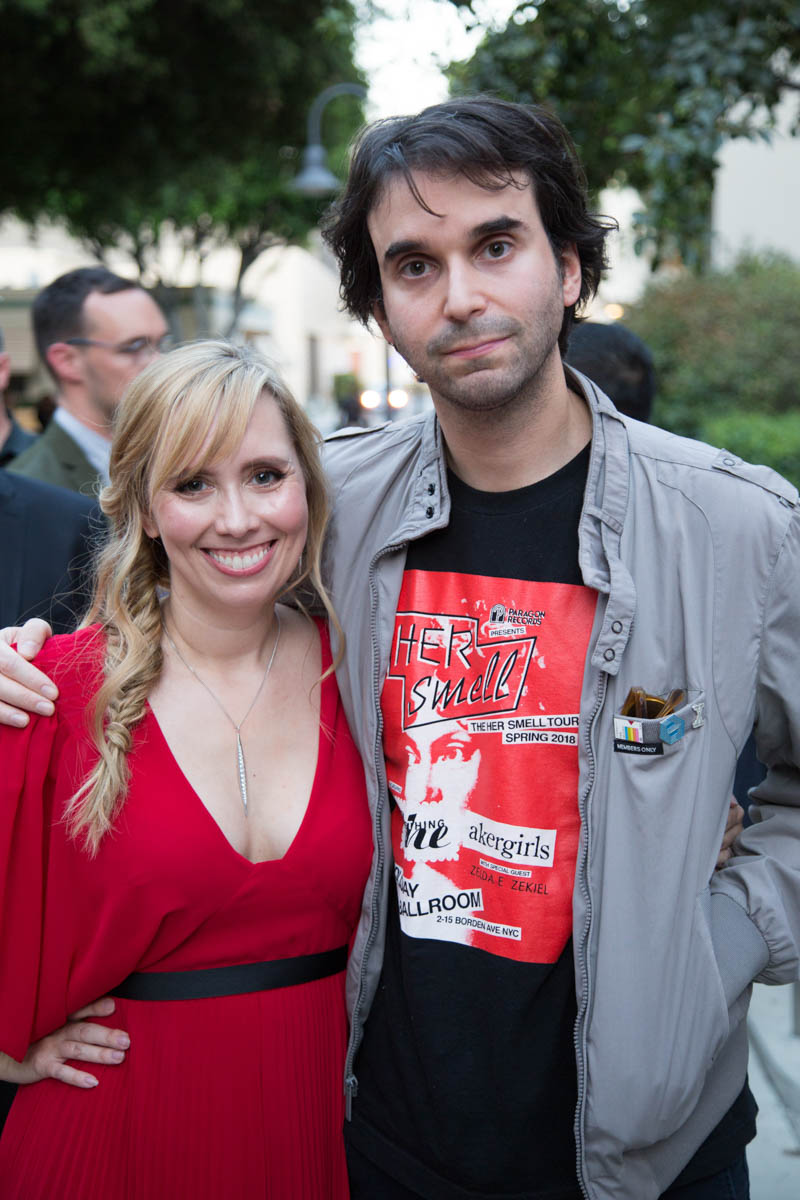 """Screenwriters Allison Schroeder and Alex Ross Perry pose together at the world premiere of Disney's """"Christopher Robin"""" at the Main Theater on the Walt Disney Studios lot in Burbank, CA on July 30, 2018. (Photo: Alex J. Berliner/ABImages)"""