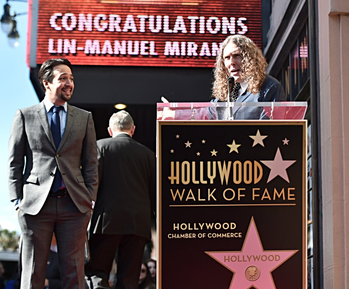 "LOS ANGELES, CALIFORNIA - NOVEMBER 30: Lin-Manuel Miranda (L) and ""Weird Al"" Yankovic attend the ceremony honoring Lin-Manuel Miranda with a Star on the Hollywood Walk of Fame on November 30, 2018 in Hollywood, California. (Photo by Alberto E. Rodriguez/Getty Images for Disney)"