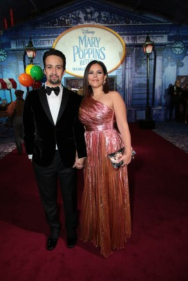 Lin-Manuel Miranda and Vanessa Nadal attends The World Premiere of Disney's Mary Poppins Returns at the Dolby Theatre in Hollywood, CA on Wednesday, November 29, 2018 (Photo: Alex J. Berliner/ABImages)