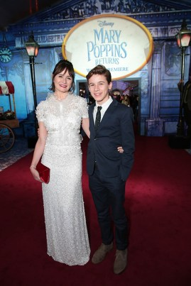 Emily Mortimer and Samuel John Nivola attend The World Premiere of Disney's Mary Poppins Returns at the Dolby Theatre in Hollywood, CA on Wednesday, November 29, 2018 (Photo: Alex J. Berliner/ABImages)