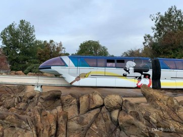 Blue Monorail With Mickey Mouse Paint Job at Disneyland-6