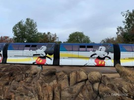Blue Monorail With Mickey Mouse Paint Job at Disneyland-8