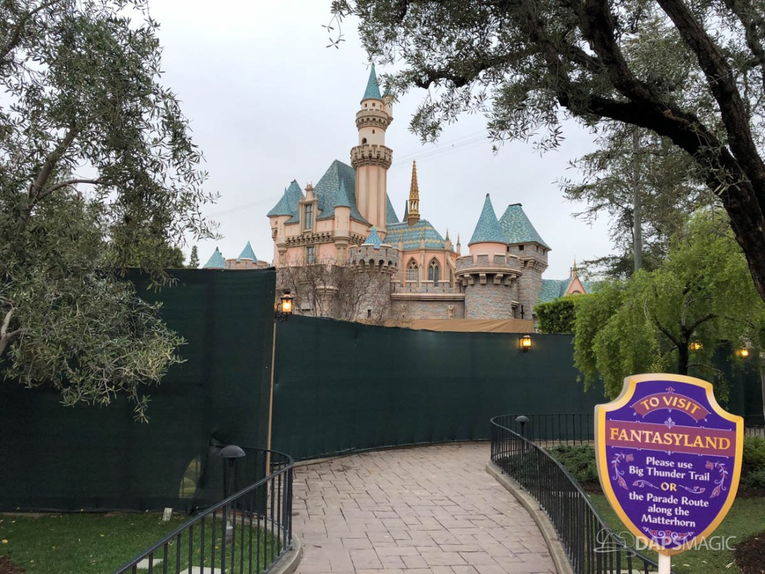 Sleeping Beauty Castle Refurbishment with Scrim 2018 Disneyland