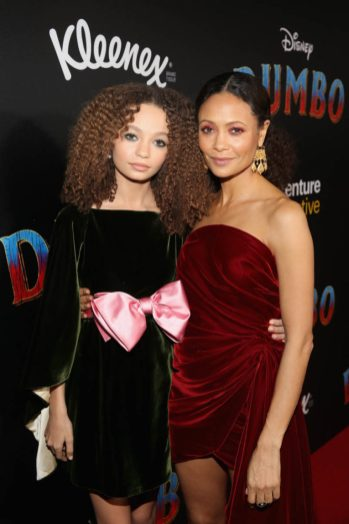 """LOS ANGELES, CA - MARCH 11: Actors Nico Parker (L) and Thandie Newton attend the World Premiere of Disney's """"Dumbo"""" at the El Capitan Theatre on March 11, 2019 in Los Angeles, California. (Photo by Jesse Grant/Getty Images for Disney) *** Local Caption *** Nico Parker; Thandie Newton"""