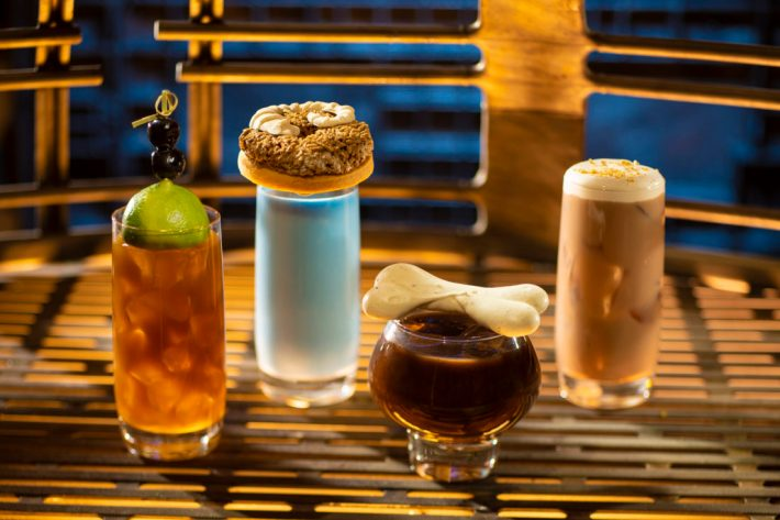 Innovative and creative drinks from around the galaxy will be available at Star Wars: GalaxyÕs Edge when it opens May 31, 2019, at Disneyland Park in Anaheim, Calif., and Aug. 29, 2019, at Disney's Hollywood Studios in Lake Buena Vista, Fla. From left to right: Moogan Tea, Blue Bantha, Bloody Rancor (contains alcohol) and the Black Spire Brew can be found at OgaÕs Cantina inside Star Wars: GalaxyÕs Edge. (Kent Phillips/Disney Parks)