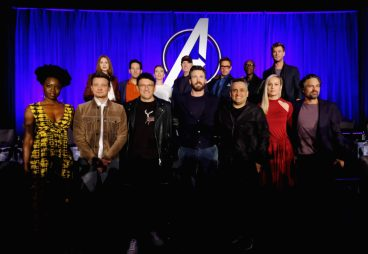 """LOS ANGELES, CA - APRIL 07: (front L-R) Danai Gurira, Jeremy Renner, Director Anthony Russo, Chris Evans, Director Joe Russo, Brie Larson and Mark Ruffalo, (back L-R) Karen Gillan, Paul Rudd, Scarlett Johansson, President of Marvel Studios/Producer Kevin Feige, Robert Downey Jr., Don Cheadle and Chris Hemsworth onstage during Marvel Studios' """"Avengers: Endgame"""" Global Junket Press Conference at the InterContinental Los Angeles Downtown on April 7, 2019 in Los Angeles, California. (Photo by Alberto E. Rodriguez/Getty Images for Disney) *** Local Caption *** Danai Gurira; Jeremy Renner; Anthony Russo; Chris Evans; Joe Russo; Brie Larson; Mark Ruffalo; Karen Gillan; Paul Rudd; Scarlett Johansson; Kevin Feige; Robert Downey Jr.; Don Cheadle; Chris Hemsworth"""