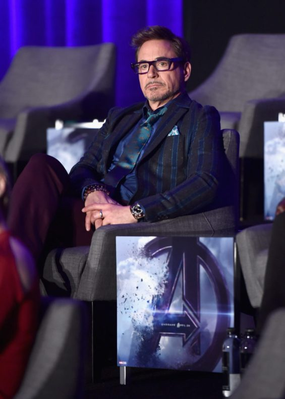 """LOS ANGELES, CA - APRIL 07: Robert Downey Jr. speaks onstage during Marvel Studios' """"Avengers: Endgame"""" Global Junket Press Conference at the InterContinental Los Angeles Downtown on April 7, 2019 in Los Angeles, California. (Photo by Alberto E. Rodriguez/Getty Images for Disney) *** Local Caption *** Robert Downey Jr."""