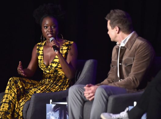 """LOS ANGELES, CA - APRIL 07: Danai Gurira (L) and Jeremy Renner speak onstage during Marvel Studios' """"Avengers: Endgame"""" Global Junket Press Conference at the InterContinental Los Angeles Downtown on April 7, 2019 in Los Angeles, California. (Photo by Alberto E. Rodriguez/Getty Images for Disney) *** Local Caption *** Danai Gurira; Jeremy Renner"""