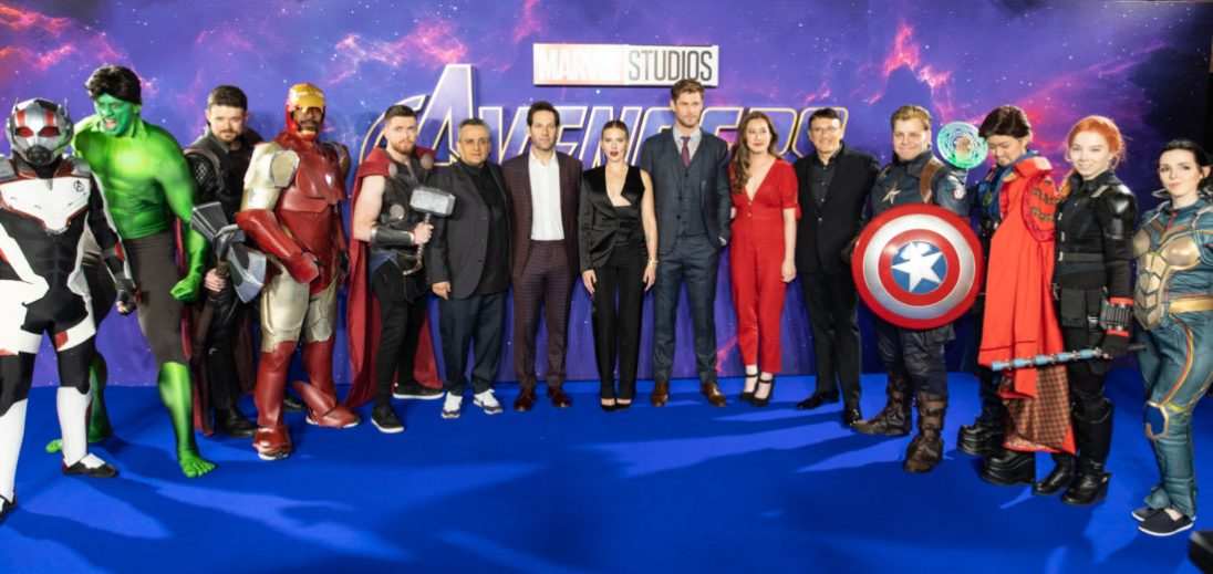 (L-R) Joe Russo, Paul Rudd, Scarlett Johansson, Chris Hemsworth, Trinh Tran, Anthony Russo and Fans attend the UK Fan Event to celebrate the release of Marvel Studios' 'Avengers: Endgame' at Picturehouse Central on April 10, 2019 in London, England.