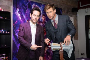 Paul Rudd and Chris Hemsworth attend the UK Fan Event to celebrate the release of Marvel Studios' 'Avengers: Endgame' at Picturehouse Central on April 10, 2019 in London, England.