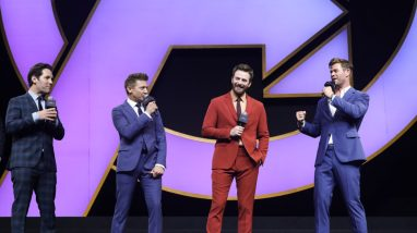 Chris Evans, Chris Hemsworth, Jeremy Renner, Paul Rudd Onstage at the Avengers Endgame China Fan Even