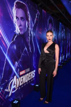 """LONDON, ENGLAND - APRIL 10: Scarlett Johansson attends the UK Fan Event to celebrate the release of Marvel Studios' """"Avengers: Endgame"""" at Picturehouse Central on April 10, 2019 in London, England. (Photo by Eamonn M. McCormack/Getty Images for Disney)"""