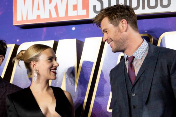(L-R) Scarlett Johansson and Chris Hemsworth attend the UK Fan Event to celebrate the release of Marvel Studios' 'Avengers: Endgame' at Picturehouse Central on April 10, 2019 in London, England.