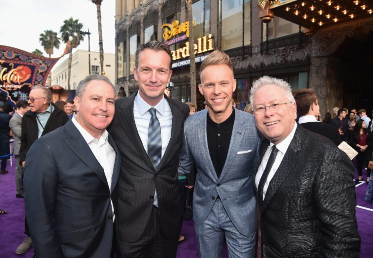 "LOS ANGELES, CA - MAY 21: (L-R) Walt Disney Studios President, Alan Bergman, President of Walt Disney Studios Motion Picture Production, Sean Bailey, Co-lyricist Justin Paul and Composer Alan Menken attend the World Premiere of Disney's ""Aladdin"" at the El Capitan Theater in Hollywood CA on May 21, 2019, in the culmination of the film's Magic Carpet World Tour with stops in Paris, London, Berlin, Tokyo, Mexico City and Amman, Jordan. (Photo by Alberto E. Rodriguez/Getty Images for Disney) *** Local Caption *** Alan Bergman; Sean Bailey; Justin Paul; Alan Menken"