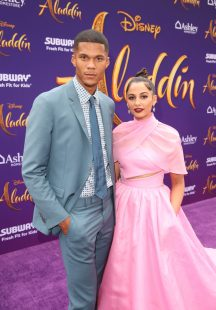 "LOS ANGELES, CA - MAY 21: Jordan Spence (L) and Naomi Scott attend the World Premiere of Disney's ""Aladdin"" at the El Capitan Theater in Hollywood CA on May 21, 2019, in the culmination of the film's Magic Carpet World Tour with stops in Paris, London, Berlin, Tokyo, Mexico City and Amman, Jordan. (Photo by Jesse Grant/Getty Images for Disney) *** Local Caption *** Naomi Scott; Jordan Spence"