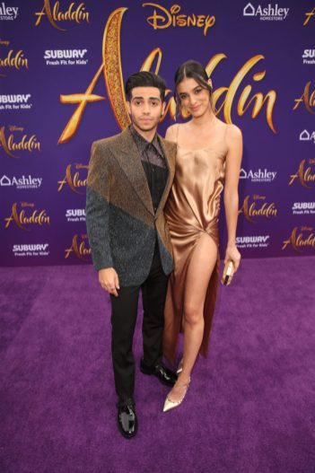 "LOS ANGELES, CA - MAY 21: Mena Massoud and Laysla de Oliveira attend the World Premiere of Disney's ""Aladdin"" at the El Capitan Theater in Hollywood CA on May 21, 2019, in the culmination of the film's Magic Carpet World Tour with stops in Paris, London, Berlin, Tokyo, Mexico City and Amman, Jordan. (Photo by Jesse Grant/Getty Images for Disney) *** Local Caption *** Laysla de Oliveira; Mena Massoud"