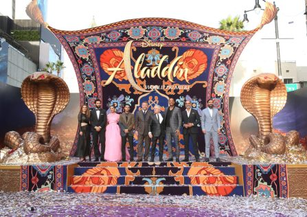"LOS ANGELES, CA - MAY 21: (L-R) Actors Nasim Pedrad, Marwan Kenzari, Naomi Scott, Mena Massoud, Director Guy Ritchie, Composer Alan Menken, actors Will Smith, Navid Negahban and Numan Acar attend the World Premiere of Disney's ""Aladdin"" at the El Capitan Theater in Hollywood CA on May 21, 2019, in the culmination of the film's Magic Carpet World Tour with stops in Paris, London, Berlin, Tokyo, Mexico City and Amman, Jordan. (Photo by Jesse Grant/Getty Images for Disney) *** Local Caption *** Nasim Pedrad; Marwan Kenzari; Naomi Scott; Mena Massoud; Guy Ritchie; Alan Menken; Will Smith; Navid Negahban; Numan AcarNuman Acar"