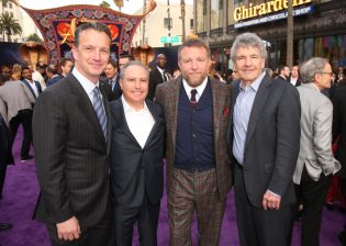 "LOS ANGELES, CA - MAY 21: (L-R) President of Walt Disney Studios Motion Picture Production, Sean Bailey, Walt Disney Studios President, Alan Bergman, Director Guy Ritchie and Chairman, The Walt Disney Studios, Alan Horn attend the World Premiere of Disney's ""Aladdin"" at the El Capitan Theater in Hollywood CA on May 21, 2019, in the culmination of the film's Magic Carpet World Tour with stops in Paris, London, Berlin, Tokyo, Mexico City and Amman, Jordan. (Photo by Jesse Grant/Getty Images for Disney) *** Local Caption *** Sean Bailey; Alan Bergman; Guy Ritchie; Alan Horn"