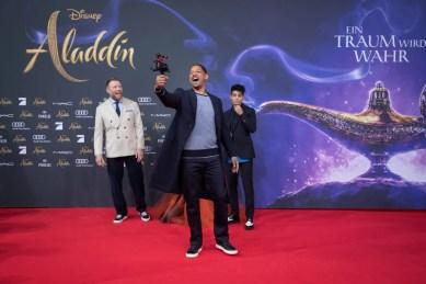 "(L-R) Will Smith, Naomi Scott, Mena Massoud and Guy Ritchie attend the ""Aladdin"" gala screening on May 11, 2019 in Berlin, Germany. .© Disney/Folioscope/Silke Reents"