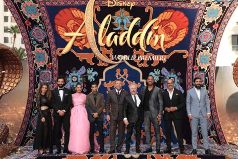 Nasim Pedrad, Marwan Kenzari, Naomi Scott, Mena Massoud, Director Guy Ritchie, Alan Menken, Will Smith, Navid Negahban and Numan Acar attend the World Premiere of DisneyÕs Aladdin at the El Capitan Theater in Hollywood, CA on Tuesday, May 21, 2019, in the culmination of the filmÕs Magic Carpet World Tour with stops in Paris, London, Berlin, Tokyo, Mexico City and Amman, Jordan. (photo: Alex J. Berliner/ABImages)