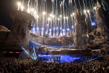 Star Wars: Galaxy's Edge at Disneyland Park in Anaheim, California, lights up with galactic fanfare, May 29, 2019, as Star Wars creator George Lucas and actors Billy Dee Williams and Mark Hamill, Walt Disney Company Chairman and CEO Bob Iger and actor Harrison Ford celebrate the opening Disney's largest single-themed land expansion ever. Star Wars: Galaxy's Edge opens May 31, 2019, at Disneyland Resort in California and Aug. 29, 2019, at Walt Disney World Resort in Florida. ()Matt Petit/Disneyland Resort