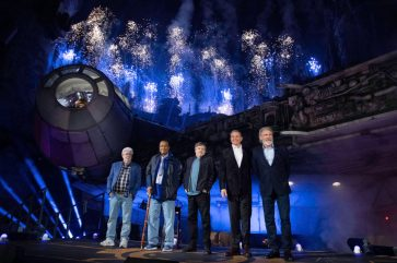 Star Wars: Galaxy's Edge at Disneyland Park in Anaheim, California, lights up with galactic fanfare, May 29, 2019, as (l-r) Star Wars creator George Lucas, actors Billy Dee Williams, Mark Hamill, Walt Disney Company Chairman and CEO Bob Iger and actor Harrison Ford celebrate the opening Disney's largest single-themed land expansion ever. Star Wars: Galaxy's Edge opens May 31, 2019, at Disneyland Resort in California and Aug. 29, 2019, at Walt Disney World Resort in Florida. (Richard Harbaugh/Disneyland Resort)