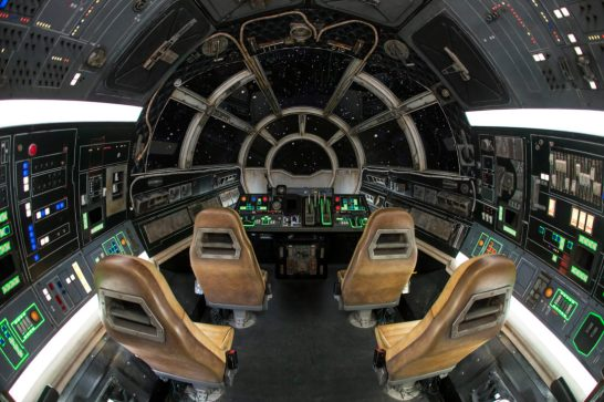 Inside Millennium Falcon: Smugglers Run at Star Wars: GalaxyÕs Edge at Disneyland Park in Anaheim, California, and at Disney's Hollywood Studios in Lake Buena Vista, Florida, guests will take the controls in one of three unique and critical roles aboard the fastest ship in the galaxy. (Joshua Sudock/Disney Parks)