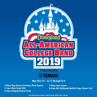 2019 Disneyland Resort All-American College Band Schedule