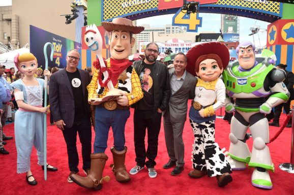 HOLLYWOOD, CA - JUNE 11: (L-R) Producer Mark Nielsen, director Josh Cooley, and producer Jonas Rivera attend the world premiere of Disney and Pixar's TOY STORY 4 at the El Capitan Theatre in Hollywood, CA on Tuesday, June 11, 2019. (Photo by Alberto E. Rodriguez/Getty Images for Disney) *** Local Caption *** Mark Nielsen; Josh Cooley; Jonas Rivera