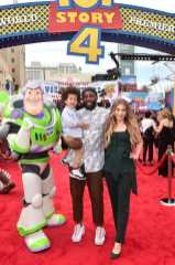 """HOLLYWOOD, CA - JUNE 11: (L-R) Maddox Laurel Boss, Stephen Laurel """"tWitch"""" Boss, and Allison Holker attend the world premiere of Disney and Pixar's TOY STORY 4 at the El Capitan Theatre in Hollywood, CA on Tuesday, June 11, 2019. (Photo by Alberto E. Rodriguez/Getty Images for Disney) *** Local Caption *** Allison Holker; Stephen Laurel """"tWitch"""" Boss; Maddox Laurel Boss"""