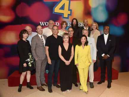 HOLLYWOOD, CA - JUNE 11: (L-R) Kristen Schaal, Wallace Shawn, Tony Hale, John Ratzenberger, Tom Hanks, Christina Hendricks, Annie Potts, Tim Allen, Keanu Reeves, Ally Maki, Keegan-Michael Key, Blake Clark, Bonnie Hunt and Carl Weathers attend the world premiere of Disney and Pixar's TOY STORY 4 at the El Capitan Theatre in Hollywood, CA on Tuesday, June 11, 2019. (Photo by Alberto E. Rodriguez/Getty Images for Disney) *** Local Caption *** Kristen Schaal; Tom Hanks; Christina Hendricks; Annie Potts; Tim Allen; Keanu Reeves; Ally Maki; Keegan-Michael Key; Wallace Shawn; Ally Maki; Tim Allen; Bonnie Hunt; Carl Weathers