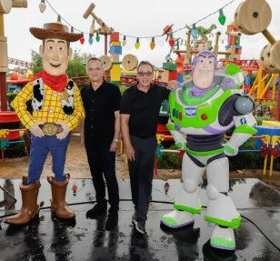 ORLANDO, FLORIDA - JUNE 08: Tom Hanks and Tim Allen visit Toy Story Land at Disney's Hollywood Studios on June 08, 2019 in Orlando, Florida. (Photo by John Parra/Getty Images for Disney)