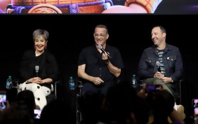 ORLANDO, FLORIDA - JUNE 08: Annie Potts, Tom Hanks and Tony Hale attend the Global Press Junket for Pixar's TOY STORY 4 at Disney's Hollywood Studios on June 08, 2019 in Orlando, Florida. (Photo by John Parra/Getty Images for Disney)