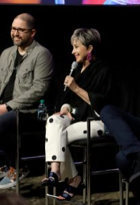 ORLANDO, FLORIDA - JUNE 08: Josh Cooley and Annie Potts attend the Global Press Junket for Pixar's TOY STORY 4 at Disney's Hollywood Studios on June 08, 2019 in Orlando, Florida. (Photo by John Parra/Getty Images for Disney)