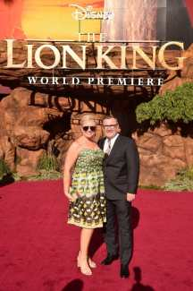 """HOLLYWOOD, CALIFORNIA - JULY 09: Executive producer Tom Peitzman (R) and guest attend the World Premiere of Disney's """"THE LION KING"""" at the Dolby Theatre on July 09, 2019 in Hollywood, California. (Photo by Alberto E. Rodriguez/Getty Images for Disney)"""