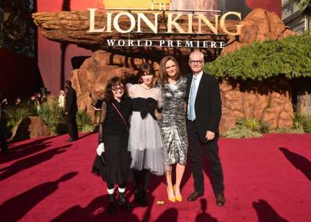 """HOLLYWOOD, CALIFORNIA - JULY 09: (L-R) Mary Jo Deschanel, Zooey Deschanel, Emily Deschanel, and Director of Photography Caleb Deschanel attend the World Premiere of Disney's """"THE LION KING"""" at the Dolby Theatre on July 09, 2019 in Hollywood, California. (Photo by Alberto E. Rodriguez/Getty Images for Disney)"""