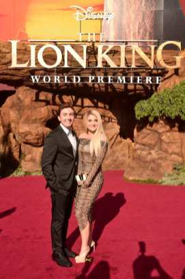 """HOLLYWOOD, CALIFORNIA - JULY 09: Daryl Sabara (L) and Meghan Trainor attend the World Premiere of Disney's """"THE LION KING"""" at the Dolby Theatre on July 09, 2019 in Hollywood, California. (Photo by Alberto E. Rodriguez/Getty Images for Disney)"""
