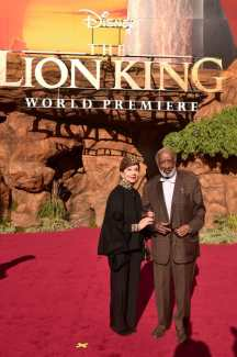 """HOLLYWOOD, CALIFORNIA - JULY 09: Jacqueline Avant (L) and Clarence Avant attend the World Premiere of Disney's """"THE LION KING"""" at the Dolby Theatre on July 09, 2019 in Hollywood, California. (Photo by Alberto E. Rodriguez/Getty Images for Disney)"""