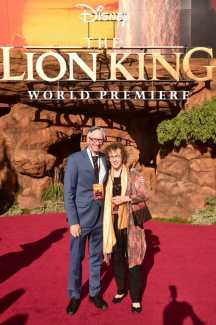"""HOLLYWOOD, CALIFORNIA - JULY 09: Irene Mecchi (R) attends the World Premiere of Disney's """"THE LION KING"""" at the Dolby Theatre on July 09, 2019 in Hollywood, California. (Photo by Alberto E. Rodriguez/Getty Images for Disney)"""
