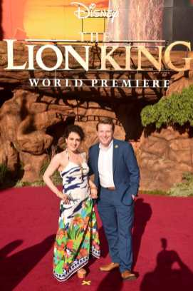 """HOLLYWOOD, CALIFORNIA - JULY 09: Artemis Pebdani (L) and guest attend the World Premiere of Disney's """"THE LION KING"""" at the Dolby Theatre on July 09, 2019 in Hollywood, California. (Photo by Alberto E. Rodriguez/Getty Images for Disney)"""