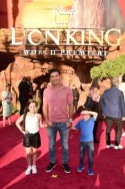 """HOLLYWOOD, CALIFORNIA - JULY 09: (L-R) Gia Francesca Lopez, Mario Lopez, and Dominic Lopez attend the World Premiere of Disney's """"THE LION KING"""" at the Dolby Theatre on July 09, 2019 in Hollywood, California. (Photo by Alberto E. Rodriguez/Getty Images for Disney)"""