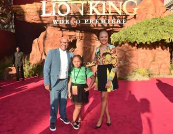 """HOLLYWOOD, CALIFORNIA - JULY 09: Creator/producer African vocal/choir arrangements Lebo M. (L) and guests attend the World Premiere of Disney's """"THE LION KING"""" at the Dolby Theatre on July 09, 2019 in Hollywood, California. (Photo by Alberto E. Rodriguez/Getty Images for Disney)"""