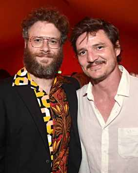 """HOLLYWOOD, CALIFORNIA - JULY 09: Seth Rogen and Pedro Pascal attend the World Premiere of Disney's """"THE LION KING"""" at the Dolby Theatre on July 09, 2019 in Hollywood, California. (Photo by Alberto E. Rodriguez/Getty Images for Disney)"""