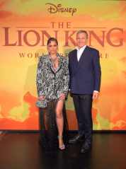 """HOLLYWOOD, CALIFORNIA - JULY 09: Beyonce Knowles-Carter and The Walt Disney Company Chairman and CEO Bob Iger attend the World Premiere of Disney's """"THE LION KING"""" at the Dolby Theatre on July 09, 2019 in Hollywood, California. (Photo by Charley Gallay/Getty Images for Disney)"""