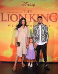 """HOLLYWOOD, CALIFORNIA - JULY 09: (L-R) Kirsten Corley, Kensli Bennett, and Chance The Rapper attend the World Premiere of Disney's """"THE LION KING"""" at the Dolby Theatre on July 09, 2019 in Hollywood, California. (Photo by Charley Gallay/Getty Images for Disney)"""