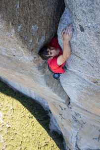 Alex Honnold free soloing the Scotty-Burke offwedth pitch of Freerider on Yosemite's El Capitan. (National Geographic/Jimmy Chin)