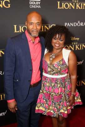 """HOLLYWOOD, CALIFORNIA - JULY 09: Donovan Harris (L) and Niketa Calame-Harris attend the World Premiere of Disney's """"THE LION KING"""" at the Dolby Theatre on July 09, 2019 in Hollywood, California. (Photo by Jesse Grant/Getty Images for Disney)"""
