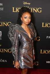 """HOLLYWOOD, CALIFORNIA - JULY 09: Skai Jackson attends the World Premiere of Disney's """"THE LION KING"""" at the Dolby Theatre on July 09, 2019 in Hollywood, California. (Photo by Jesse Grant/Getty Images for Disney)"""