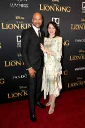 """HOLLYWOOD, CALIFORNIA - JULY 09: Keegan-Michael Key (L) and Elisa Pugliese attend the World Premiere of Disney's """"THE LION KING"""" at the Dolby Theatre on July 09, 2019 in Hollywood, California. (Photo by Jesse Grant/Getty Images for Disney)"""