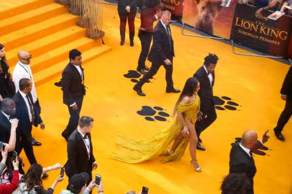 BeyoncŽ Knowles-Carter (L) and Mr Shawn Carter attend the European Premiere of DisneyÕs ÒThe Lion KingÓ at the Odeon Leicester Square on 14th July 2019 in London, UK